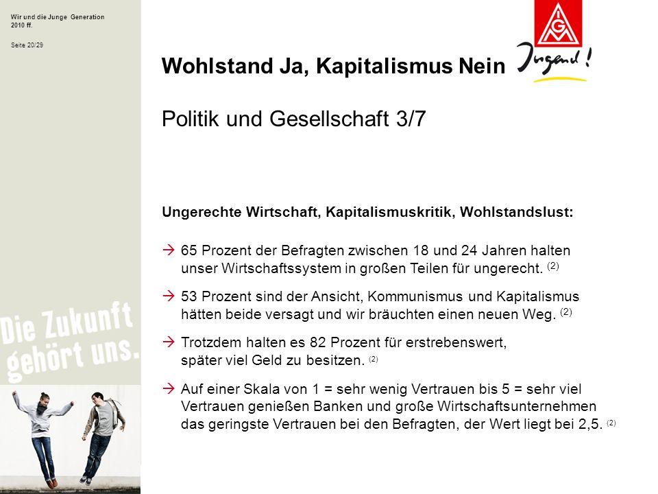 Wir und die Junge Generation 2010 ff. Seite 20/29 Ungerechte Wirtschaft, Kapitalismuskritik, Wohlstandslust: 65 Prozent der Befragten zwischen 18 und
