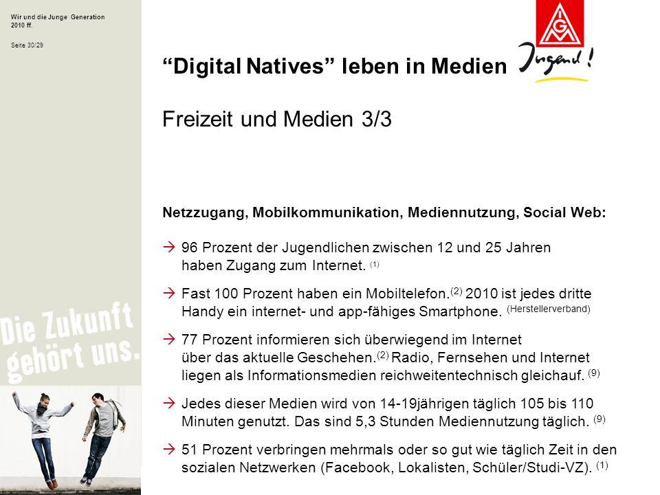 Wir und die Junge Generation 2010 ff. Seite 30/29 Netzzugang, Mobilkommunikation, Mediennutzung, Social Web: 96 Prozent der Jugendlichen zwischen 12 u