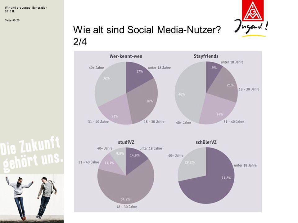 Wir und die Junge Generation 2010 ff. Seite 49/29 Wie alt sind Social Media-Nutzer? 2/4