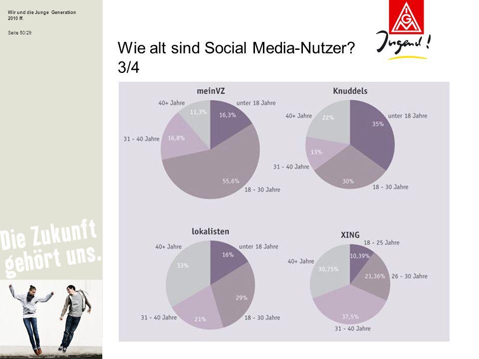 Wir und die Junge Generation 2010 ff. Seite 50/29 Wie alt sind Social Media-Nutzer? 3/4