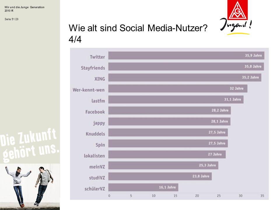 Wir und die Junge Generation 2010 ff. Seite 51/29 Wie alt sind Social Media-Nutzer? 4/4
