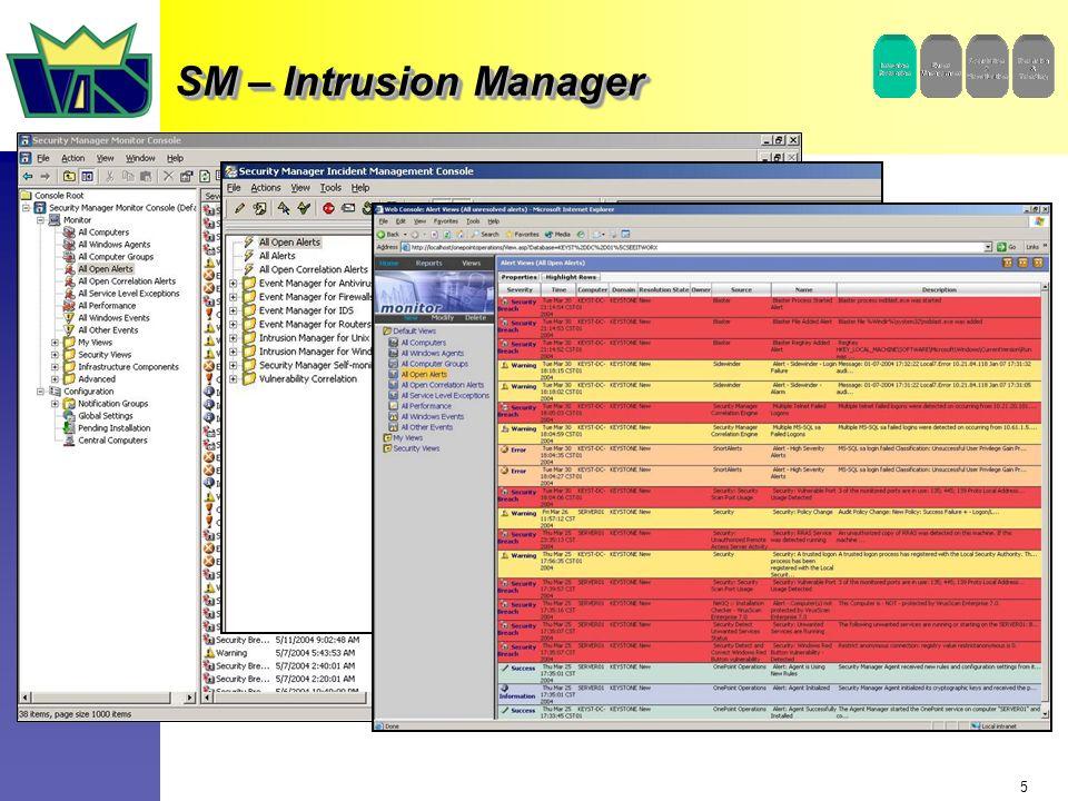 6 Managen von Events und Alerts von der zentralen Konsole aus Möglichkeit der Unterstützung vieler wichtiger Sicherheits- Sensoren und Anwendungen ist im Produkt enthalten XML basierte Integration mit neuen Sicherheits- Datenquellen Eingebaute und anpassbare Sicherheits- Knowledge Base Managen von Events und Alerts von der zentralen Konsole aus Möglichkeit der Unterstützung vieler wichtiger Sicherheits- Sensoren und Anwendungen ist im Produkt enthalten XML basierte Integration mit neuen Sicherheits- Datenquellen Eingebaute und anpassbare Sicherheits- Knowledge Base Zentralisiertes Monitoring und Reaktion auf Sicherheits-Alarme, die von unterschiedlichen Sicherheits-Sensoren im Unternehmen generiert werden.