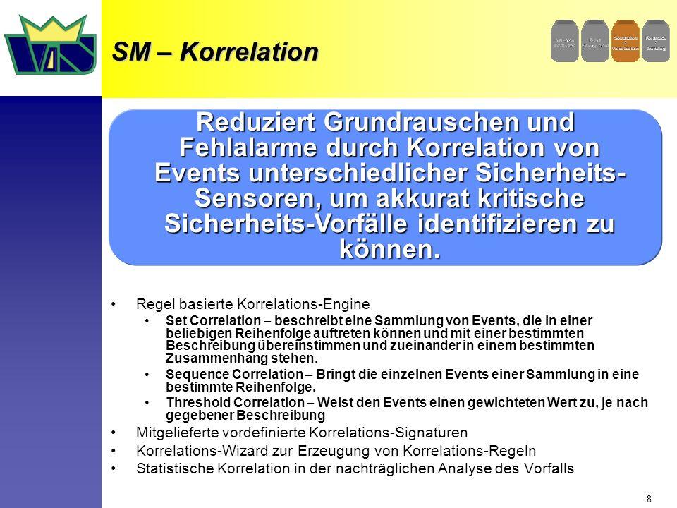 8 SM – Korrelation Regel basierte Korrelations-Engine Set Correlation – beschreibt eine Sammlung von Events, die in einer beliebigen Reihenfolge auftreten können und mit einer bestimmten Beschreibung übereinstimmen und zueinander in einem bestimmten Zusammenhang stehen.