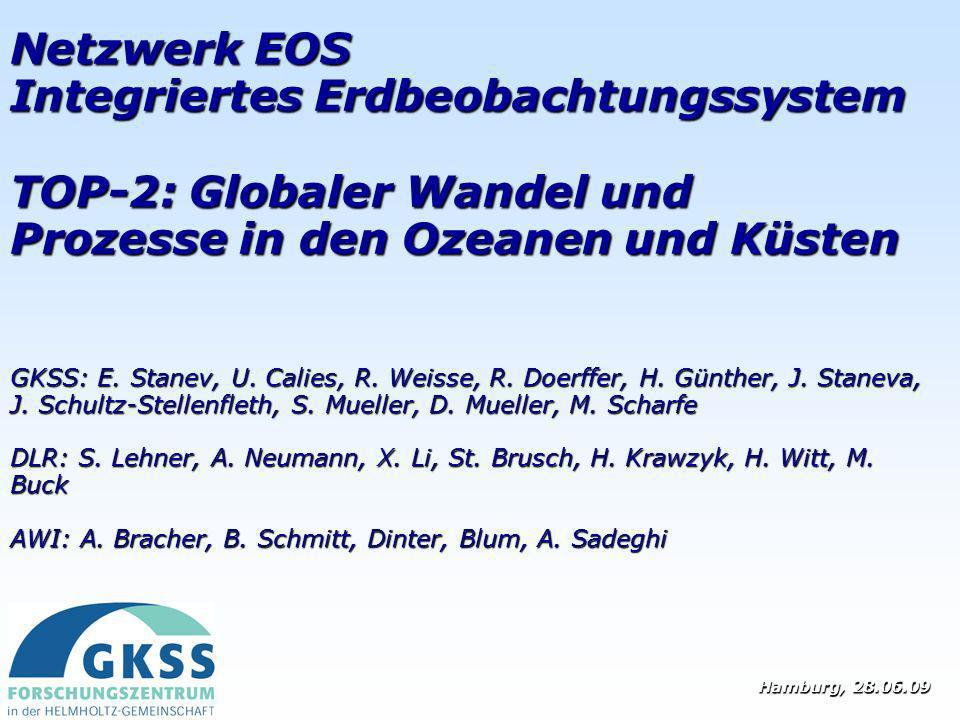 Netzwerk EOS Integriertes Erdbeobachtungssystem TOP-2: Globaler Wandel und Prozesse in den Ozeanen und Küsten GKSS: E. Stanev, U. Calies, R. Weisse, R