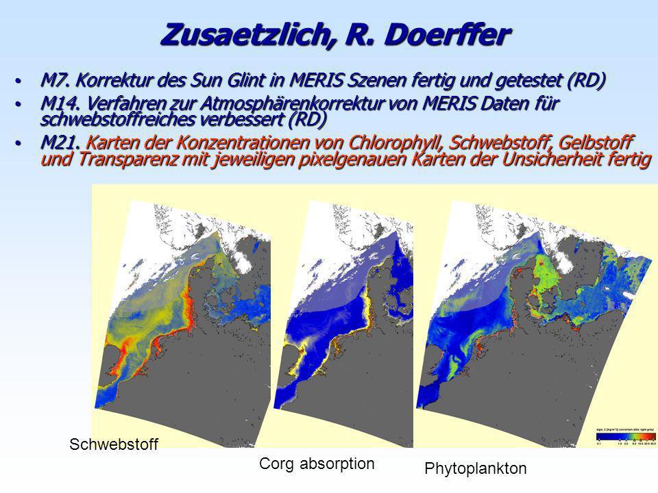 Zusaetzlich, R. Doerffer M7. Korrektur des Sun Glint in MERIS Szenen fertig und getestet (RD) M7. Korrektur des Sun Glint in MERIS Szenen fertig und g