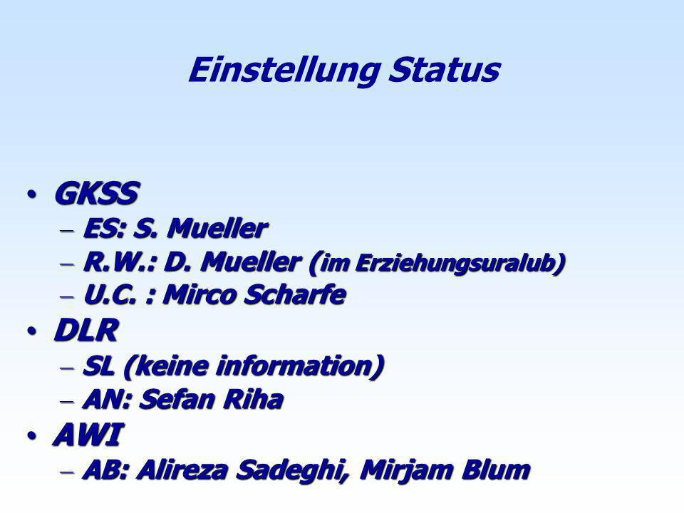 Einstellung Status GKSS GKSS – ES: S. Mueller – R.W.: D. Mueller ( im Erziehungsuralub) – U.C. : Mirco Scharfe DLR DLR – SL (keine information) – AN: