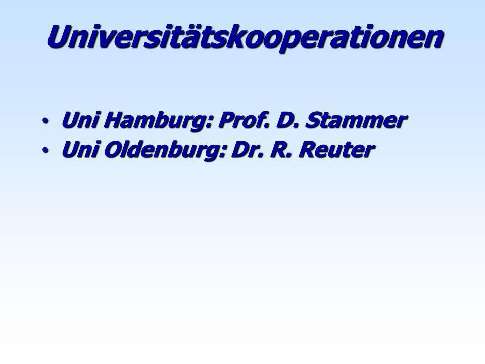 Uni Hamburg: Prof. D. Stammer Uni Hamburg: Prof. D. Stammer Uni Oldenburg: Dr. R. Reuter Uni Oldenburg: Dr. R. Reuter Universitätskooperationen