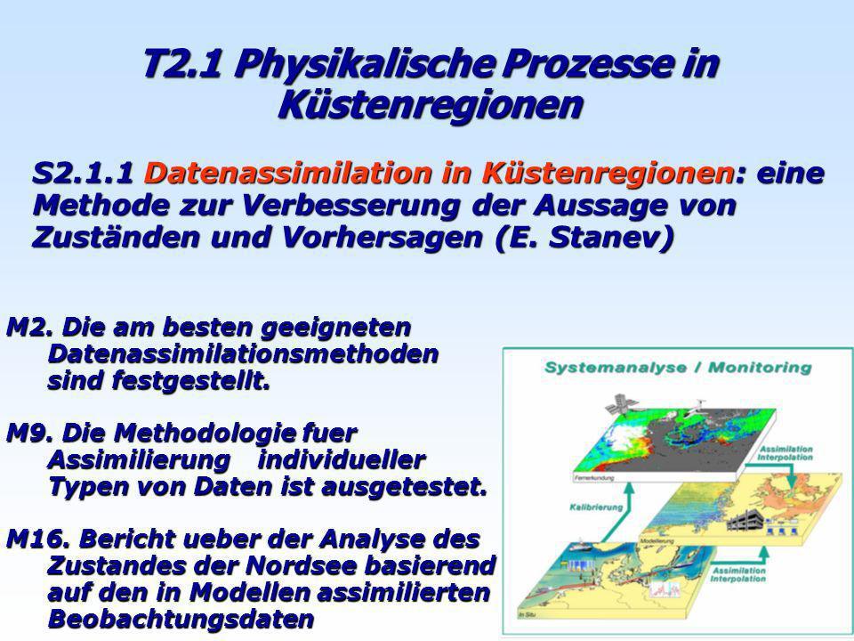 T2.1 Physikalische Prozesse in Küstenregionen S2.1.1 Datenassimilation in Küstenregionen: eine Methode zur Verbesserung der Aussage von Zuständen und