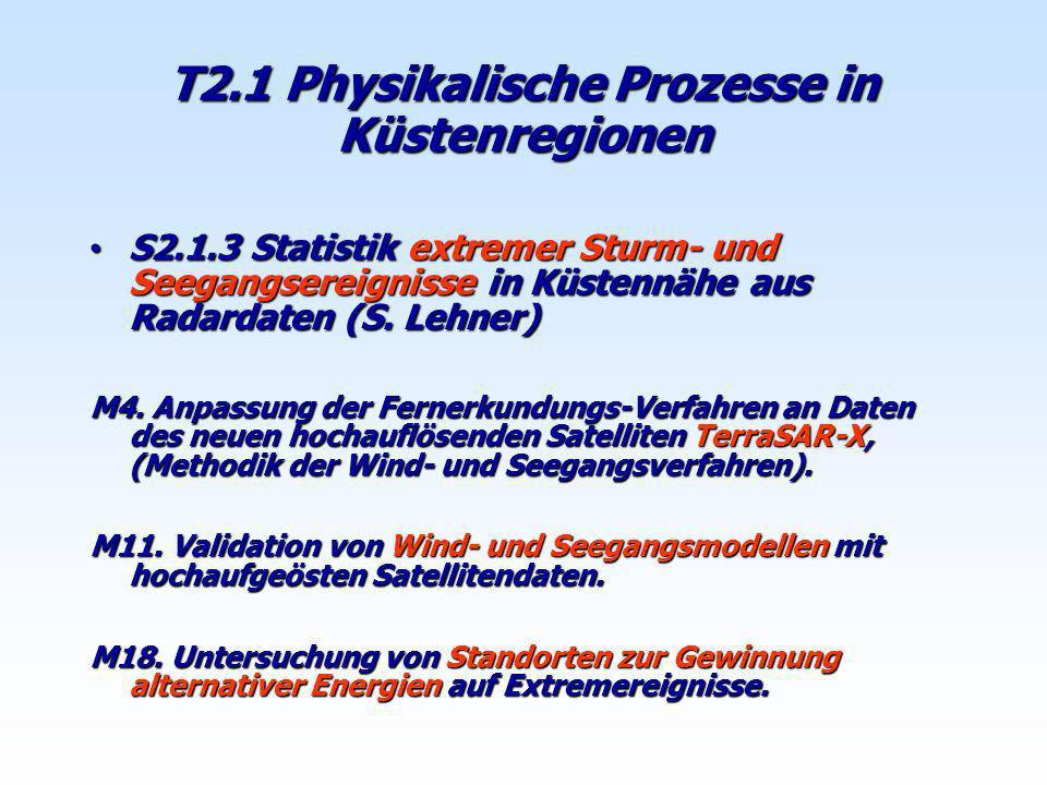 S2.1.3 Statistik extremer Sturm- und Seegangsereignisse in Küstennähe aus Radardaten (S. Lehner) S2.1.3 Statistik extremer Sturm- und Seegangsereignis