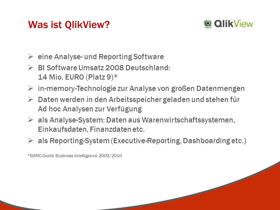 Was ist QlikView? eine Analyse- und Reporting Software BI Software Umsatz 2008 Deutschland: 14 Mio. EURO (Platz 9)* in-memory-Technologie zur Analyse