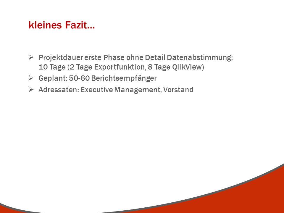 kleines Fazit… Projektdauer erste Phase ohne Detail Datenabstimmung: 10 Tage (2 Tage Exportfunktion, 8 Tage QlikView) Geplant: 50-60 Berichtsempfänger
