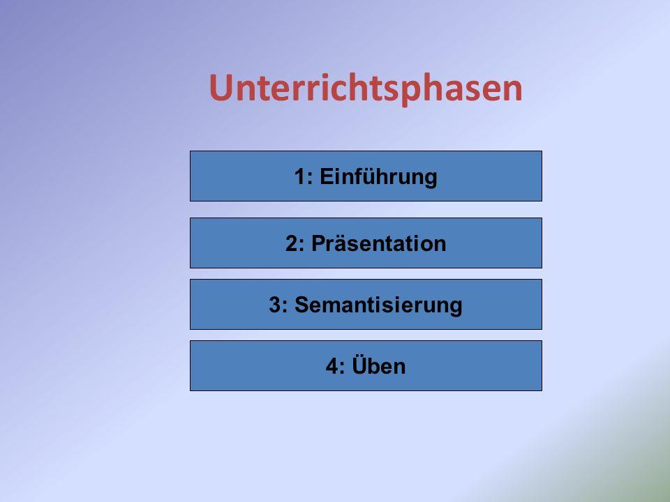 Unterrichtsphasen 1: Einführung 2: Präsentation 3: Semantisierung 4: Üben