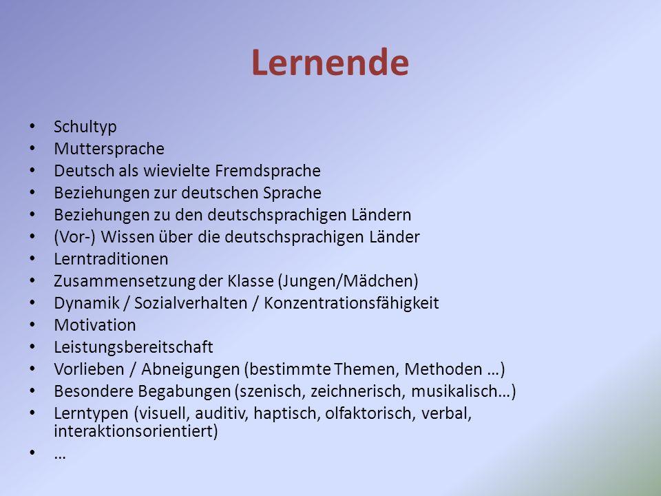 Lernende Schultyp Muttersprache Deutsch als wievielte Fremdsprache Beziehungen zur deutschen Sprache Beziehungen zu den deutschsprachigen Ländern (Vor