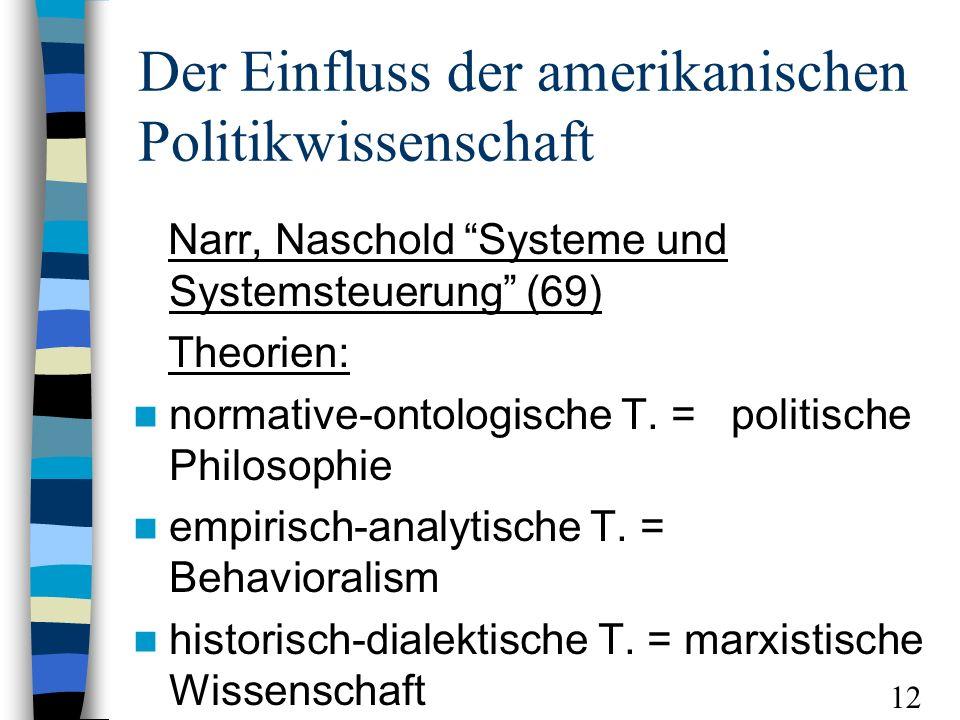 Der Einfluss der amerikanischen Politikwissenschaft Narr, Naschold Systeme und Systemsteuerung (69) Theorien: normative-ontologische T. = politische P