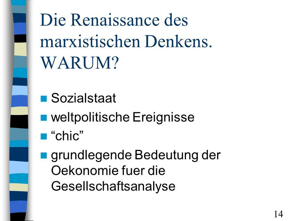 Die Renaissance des marxistischen Denkens. WARUM? Sozialstaat weltpolitische Ereignisse chic grundlegende Bedeutung der Oekonomie fuer die Gesellschaf