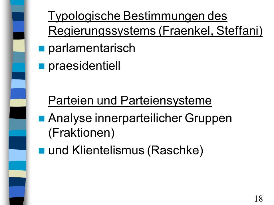 Typologische Bestimmungen des Regierungssystems (Fraenkel, Steffani) parlamentarisch praesidentiell Parteien und Parteiensysteme Analyse innerparteilicher Gruppen (Fraktionen) und Klientelismus (Raschke) 18