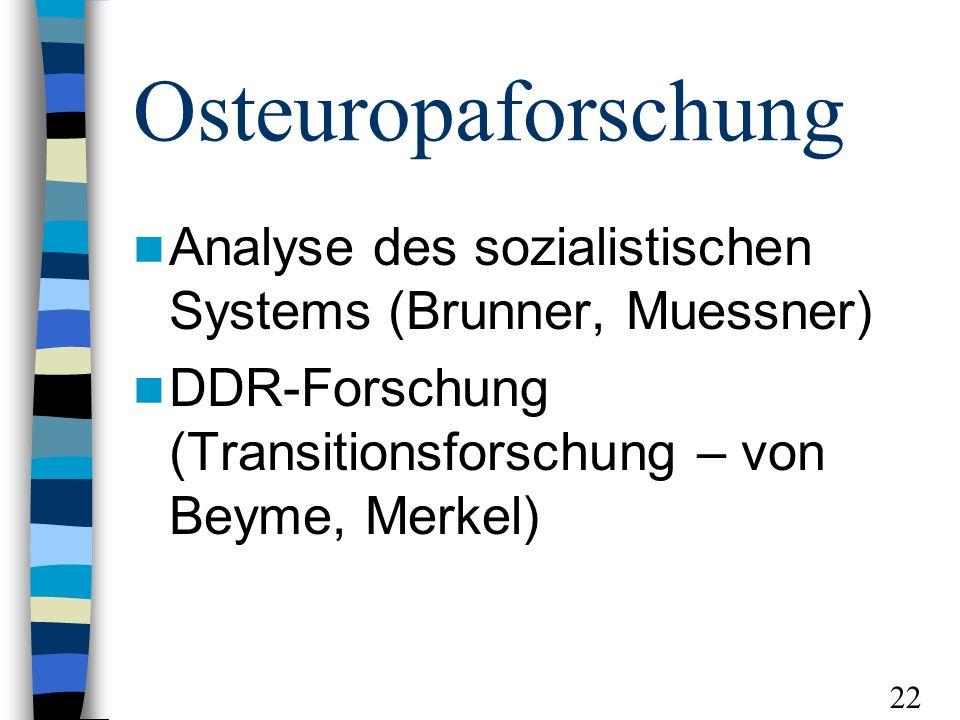 Osteuropaforschung Analyse des sozialistischen Systems (Brunner, Muessner) DDR-Forschung (Transitionsforschung – von Beyme, Merkel) 22
