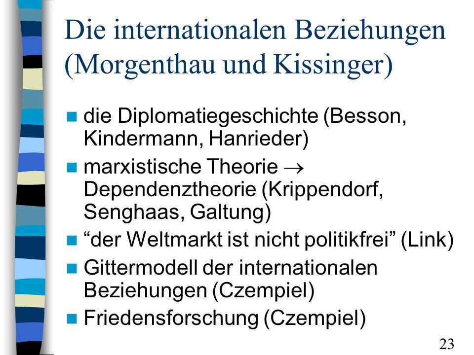 Die internationalen Beziehungen (Morgenthau und Kissinger) die Diplomatiegeschichte (Besson, Kindermann, Hanrieder) marxistische Theorie Dependenztheorie (Krippendorf, Senghaas, Galtung) der Weltmarkt ist nicht politikfrei (Link) Gittermodell der internationalen Beziehungen (Czempiel) Friedensforschung (Czempiel) 23