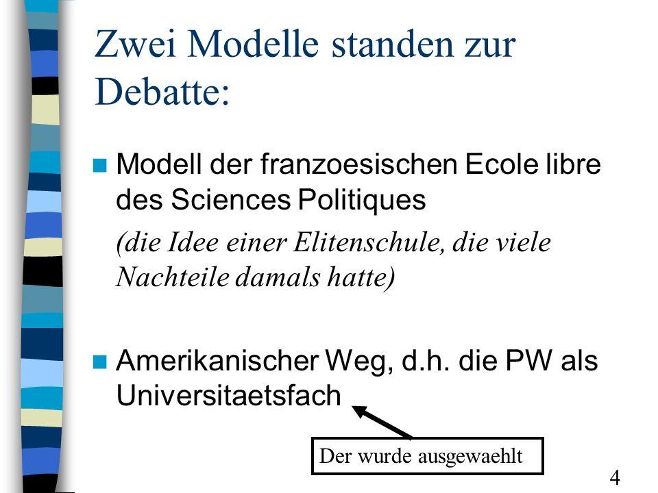 Zwei Modelle standen zur Debatte: Modell der franzoesischen Ecole libre des Sciences Politiques (die Idee einer Elitenschule, die viele Nachteile damals hatte) Amerikanischer Weg, d.h.
