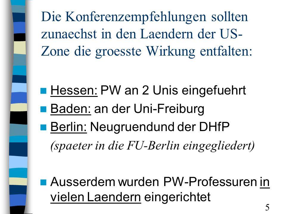 Die Konferenzempfehlungen sollten zunaechst in den Laendern der US- Zone die groesste Wirkung entfalten: Hessen: PW an 2 Unis eingefuehrt Baden: an de