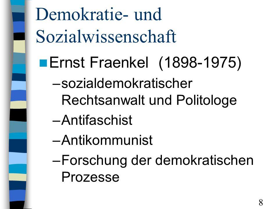Demokratie- und Sozialwissenschaft Ernst Fraenkel (1898-1975) –sozialdemokratischer Rechtsanwalt und Politologe –Antifaschist –Antikommunist –Forschung der demokratischen Prozesse 8