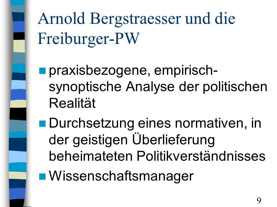 Arnold Bergstraesser und die Freiburger-PW praxisbezogene, empirisch- synoptische Analyse der politischen Realität Durchsetzung eines normativen, in der geistigen Überlieferung beheimateten Politikverständnisses Wissenschaftsmanager 9