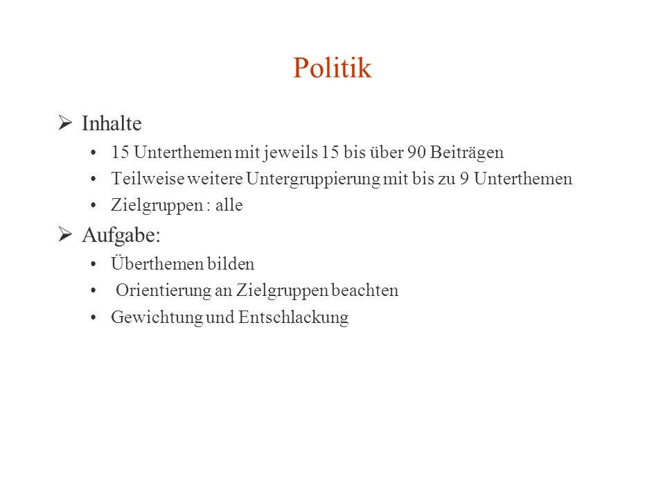 Politik Inhalte 15 Unterthemen mit jeweils 15 bis über 90 Beiträgen Teilweise weitere Untergruppierung mit bis zu 9 Unterthemen Zielgruppen : alle Auf