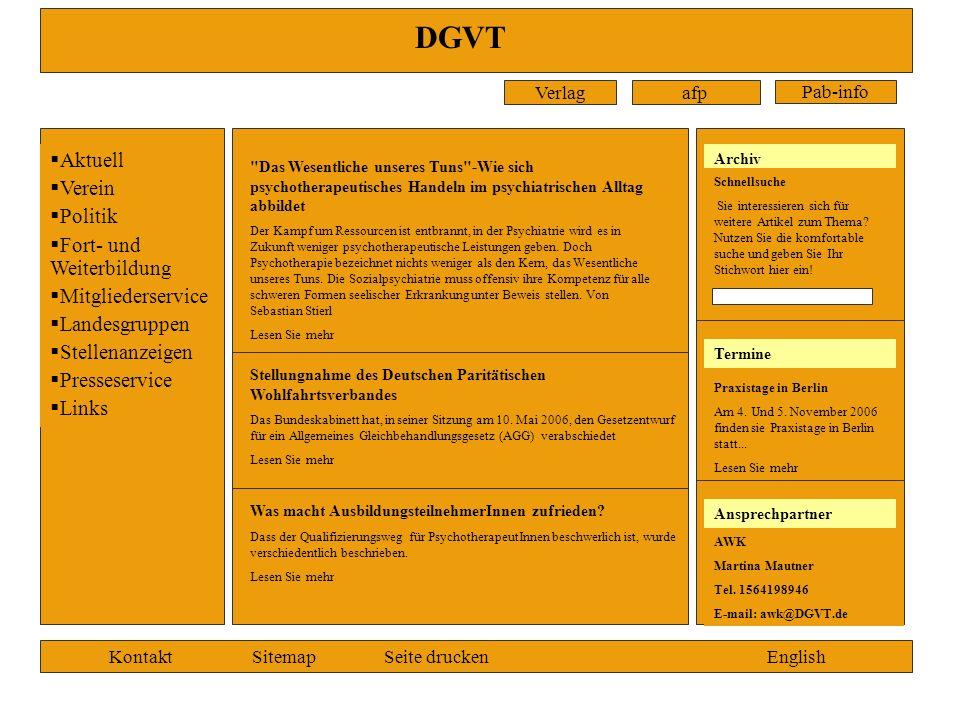 DGVT Verlagafp Pab-info Aktuell Verein Politik Fort- und Weiterbildung Mitgliederservice Landesgruppen Stellenanzeigen Presseservice Links KontaktSite