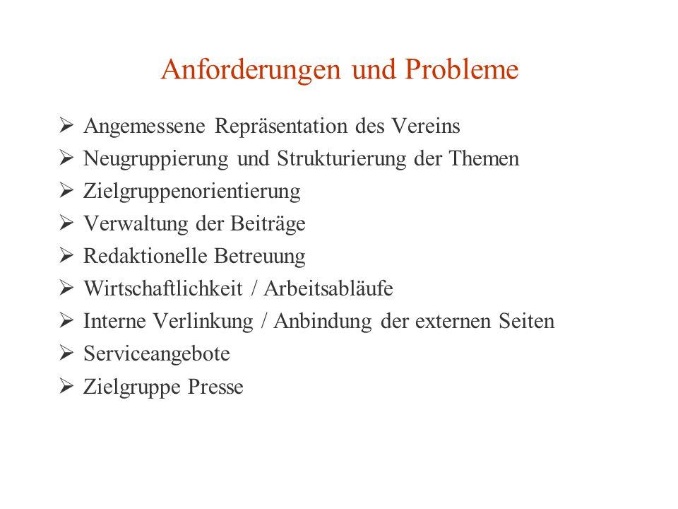 Anforderungen und Probleme Angemessene Repräsentation des Vereins Neugruppierung und Strukturierung der Themen Zielgruppenorientierung Verwaltung der