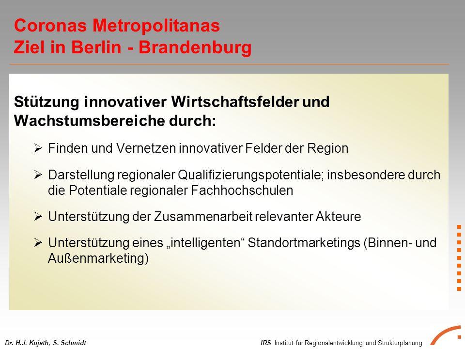 IRS Institut für Regionalentwicklung und StrukturplanungDr. H.J. Kujath, S. Schmidt Stützung innovativer Wirtschaftsfelder und Wachstumsbereiche durch