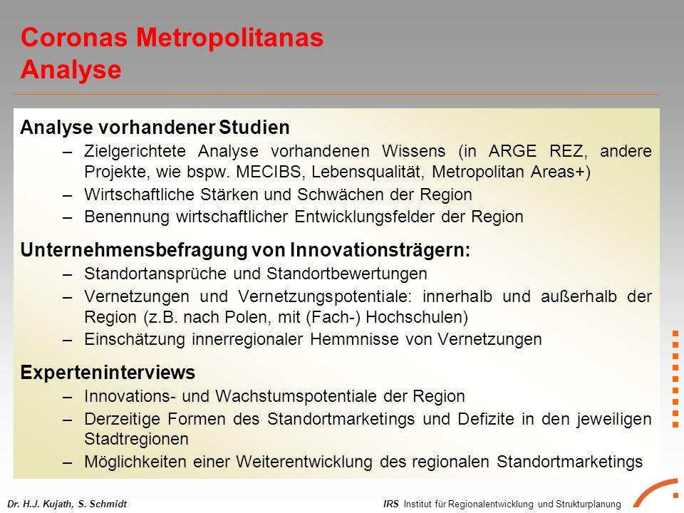IRS Institut für Regionalentwicklung und StrukturplanungDr. H.J. Kujath, S. Schmidt Analyse vorhandener Studien –Zielgerichtete Analyse vorhandenen Wi