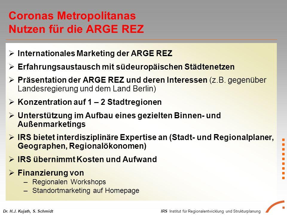 IRS Institut für Regionalentwicklung und StrukturplanungDr. H.J. Kujath, S. Schmidt Internationales Marketing der ARGE REZ Erfahrungsaustausch mit süd