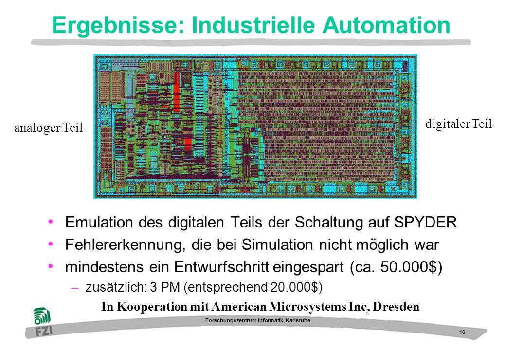 16 Forschungszentrum Informatik, Karlsruhe Ergebnisse: Industrielle Automation In Kooperation mit American Microsystems Inc, Dresden Emulation des dig