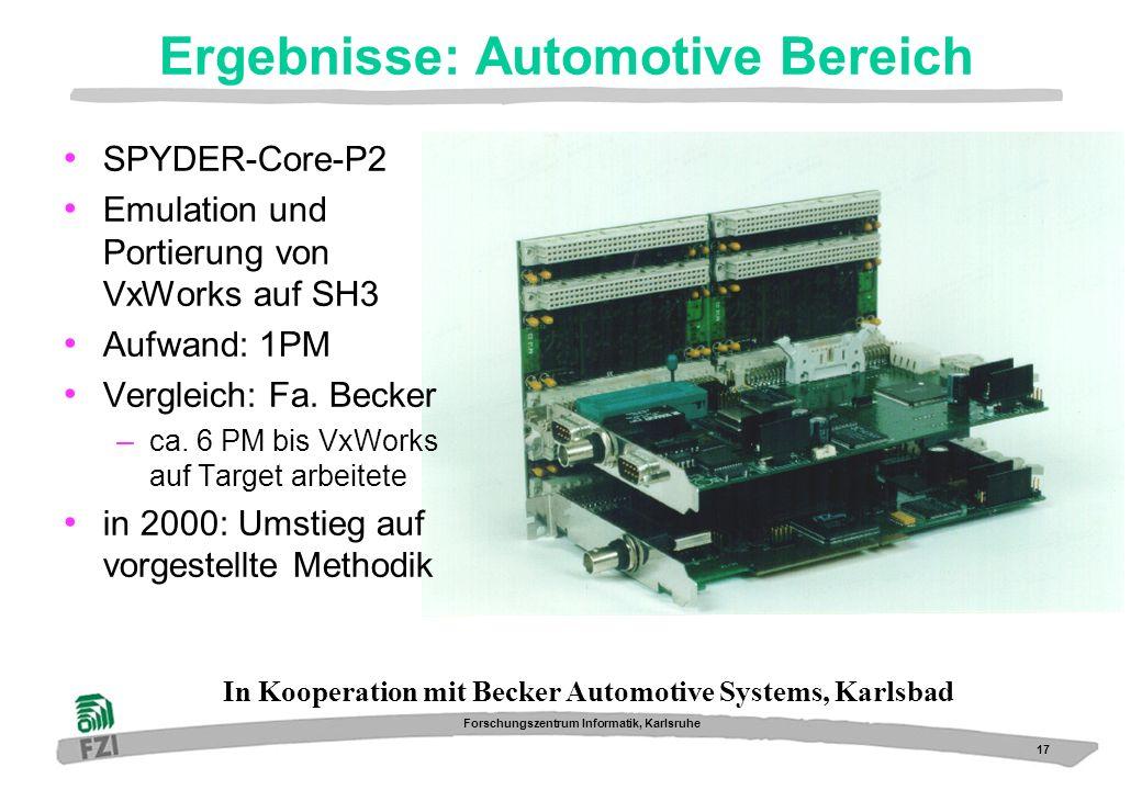 17 Forschungszentrum Informatik, Karlsruhe Ergebnisse: Automotive Bereich SPYDER-Core-P2 Emulation und Portierung von VxWorks auf SH3 Aufwand: 1PM Ver