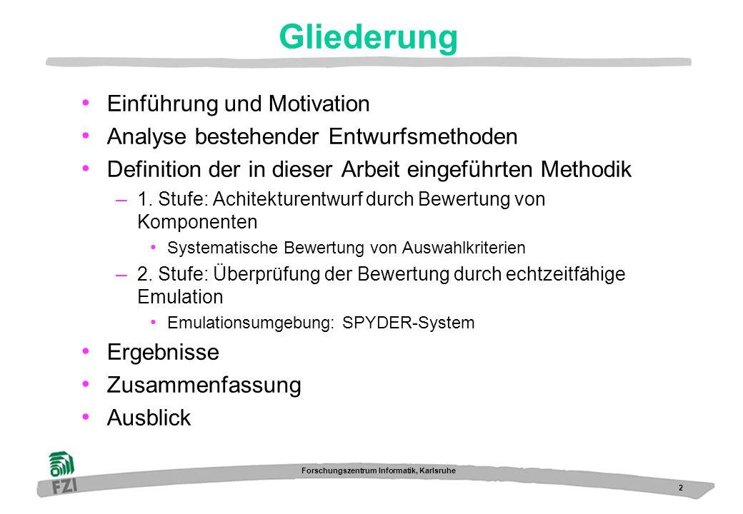 3 Forschungszentrum Informatik, Karlsruhe Kommunikations- schnittstelle Einführung: Eingebettetes System anwendungsspezifische Software anwendungsspezifische Hardware Mikrocontroller-Kern FPGAASIC SH3 7729-DSP eingebettetes System Umwelt