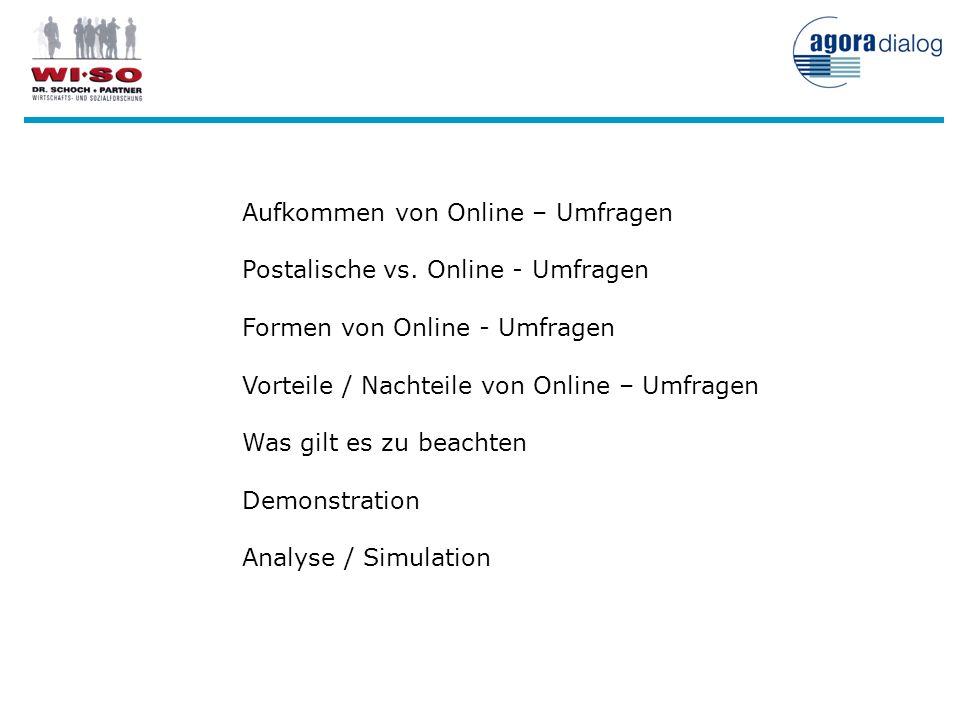 Aufkommen von Online – Umfragen Postalische vs. Online - Umfragen Formen von Online - Umfragen Vorteile / Nachteile von Online – Umfragen Was gilt es