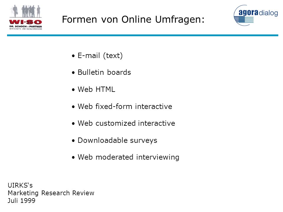 UIRKSs Marketing Research Review Juli 1999 E-mail (text) Bulletin boards Web HTML Web fixed-form interactive Web customized interactive Downloadable s