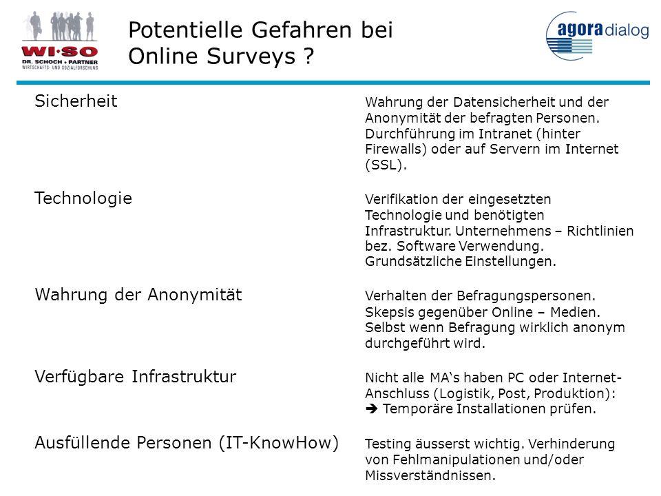 Potentielle Gefahren bei Online Surveys ? Sicherheit Wahrung der Datensicherheit und der Anonymität der befragten Personen. Durchführung im Intranet (