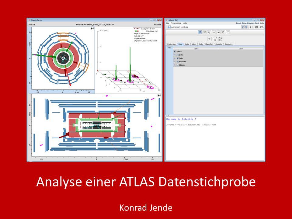 Analyse einer ATLAS Datenstichprobe – Eventbeispiel 7 Untergrund ttbar Schnitt auf PT=10 GeV Positron nach unten, Myon nach links unten (in Seitenansicht) Hohe MissingET 22