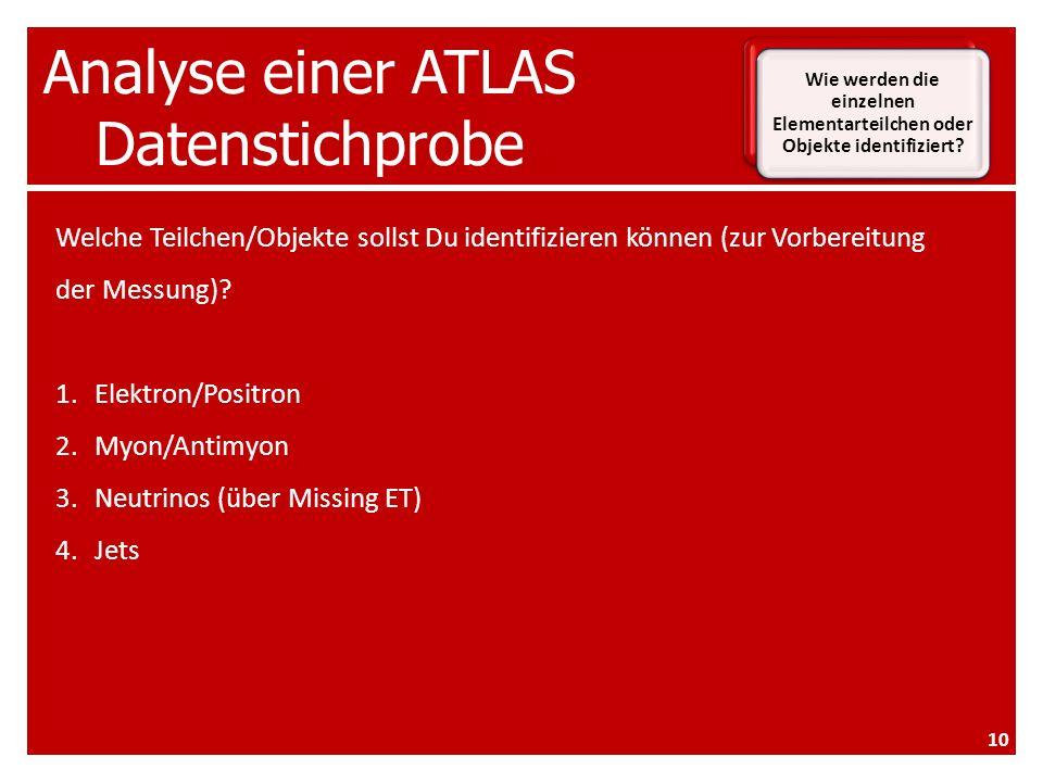 Analyse einer ATLAS Datenstichprobe Wie werden die einzelnen Elementarteilchen oder Objekte identifiziert.
