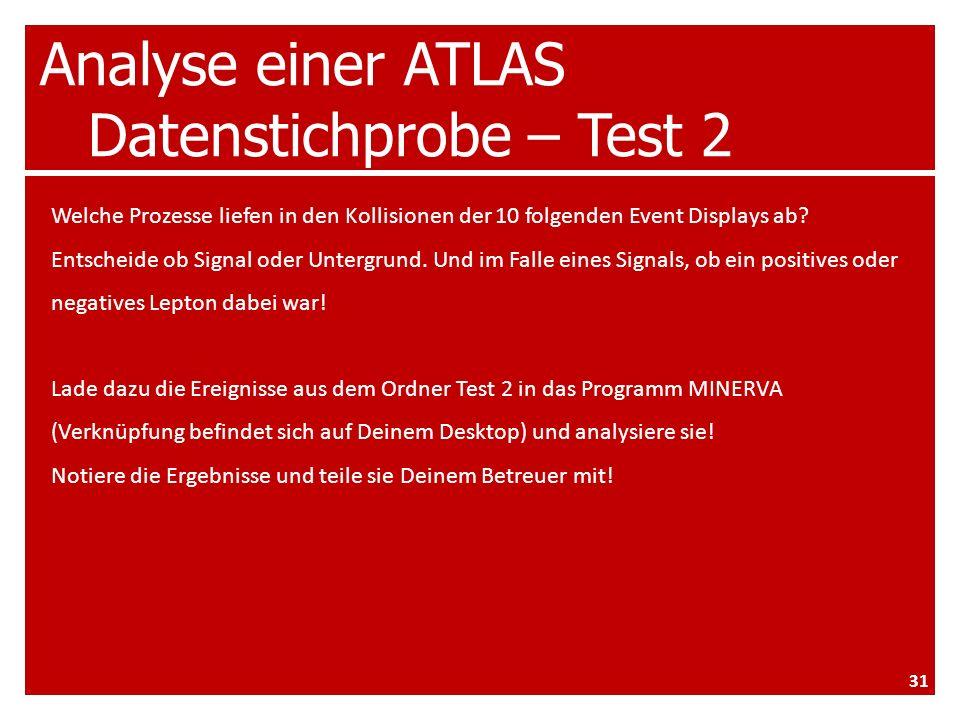 Analyse einer ATLAS Datenstichprobe – Test 2 Welche Prozesse liefen in den Kollisionen der 10 folgenden Event Displays ab.