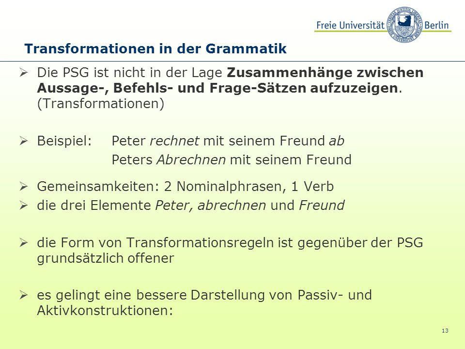 13 Die PSG ist nicht in der Lage Zusammenhänge zwischen Aussage-, Befehls- und Frage-Sätzen aufzuzeigen. (Transformationen) Beispiel: Peter rechnet mi