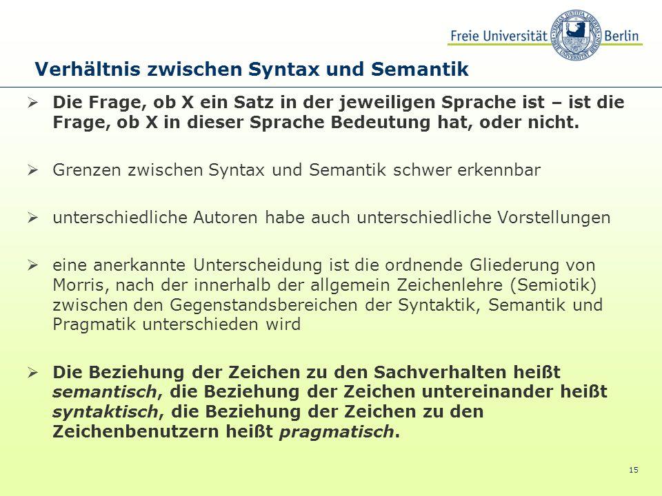 15 Die Frage, ob X ein Satz in der jeweiligen Sprache ist – ist die Frage, ob X in dieser Sprache Bedeutung hat, oder nicht. Grenzen zwischen Syntax u