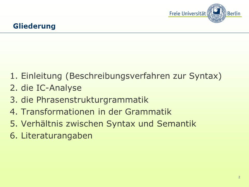 2 1. Einleitung (Beschreibungsverfahren zur Syntax) 2. die IC-Analyse 3. die Phrasenstrukturgrammatik 4. Transformationen in der Grammatik 5. Verhältn