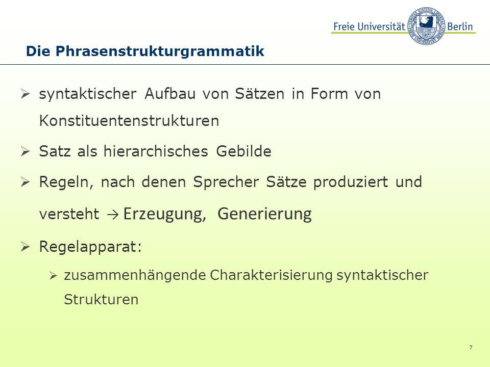 7 syntaktischer Aufbau von Sätzen in Form von Konstituentenstrukturen Satz als hierarchisches Gebilde Regeln, nach denen Sprecher Sätze produziert und