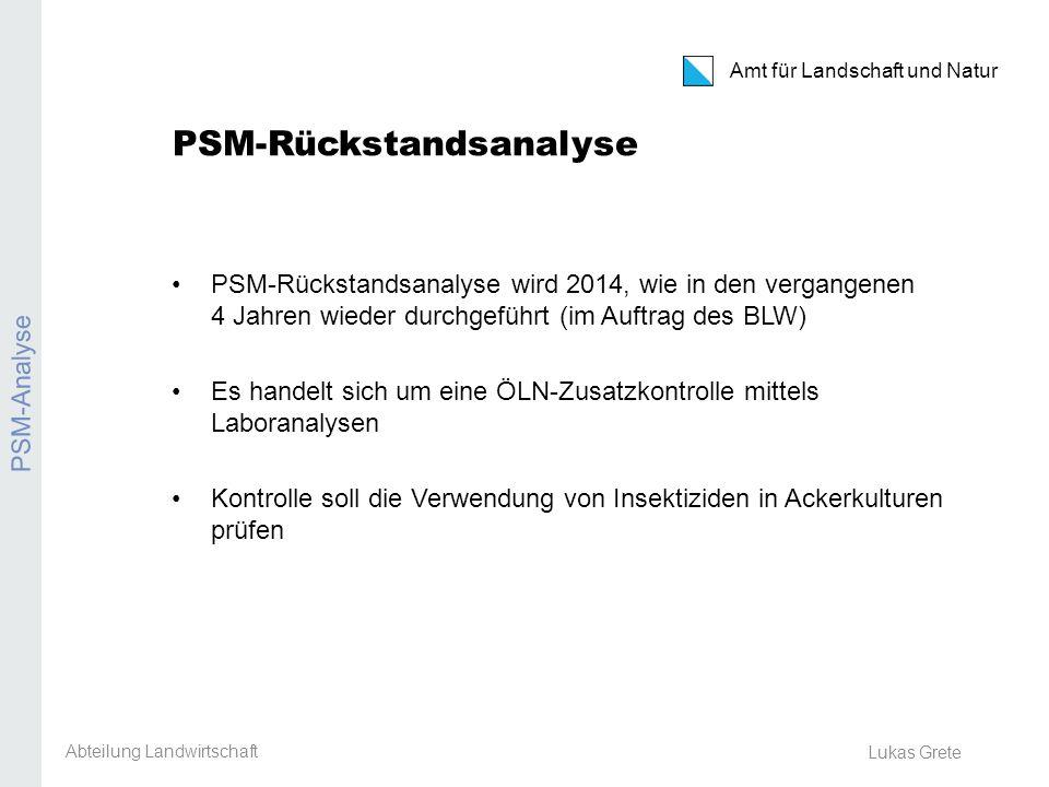 Amt für Landschaft und Natur Erosion Lukas Grete Resultate 2013 2012 wurden im Kanton Zürich Weizen und Kartoffeln getestet Alle Proben negativ Abteilung Landwirtschaft PSM-Analyse
