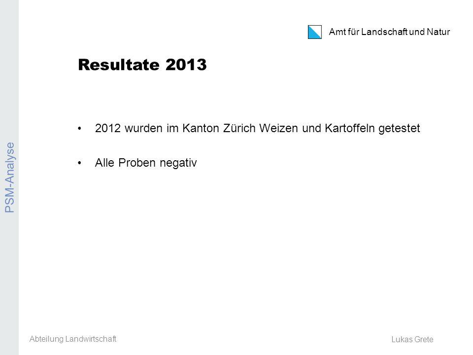 Amt für Landschaft und Natur Erosion Lukas Grete Vorgehen: PSM-Analysen 2014 Welche Kulturen getestet werden ist noch offen.