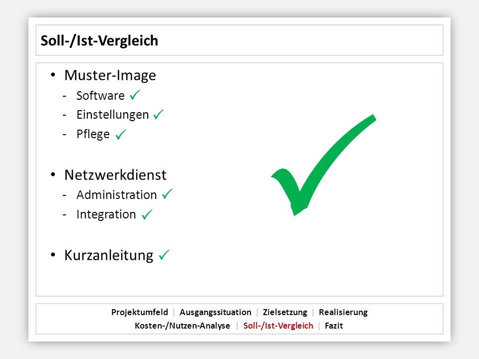 Soll-/Ist-Vergleich Muster-Image -Software -Einstellungen -Pflege Netzwerkdienst -Administration -Integration Kurzanleitung Projektumfeld   Ausgangssi