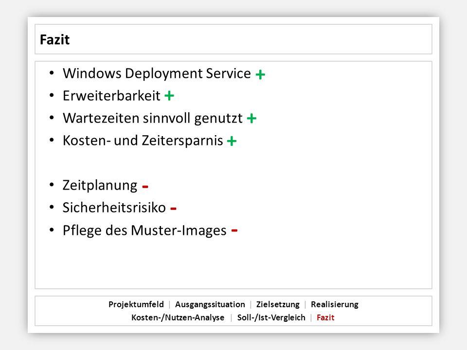 Fazit Windows Deployment Service Erweiterbarkeit Wartezeiten sinnvoll genutzt Kosten- und Zeitersparnis Zeitplanung Sicherheitsrisiko Pflege des Muste