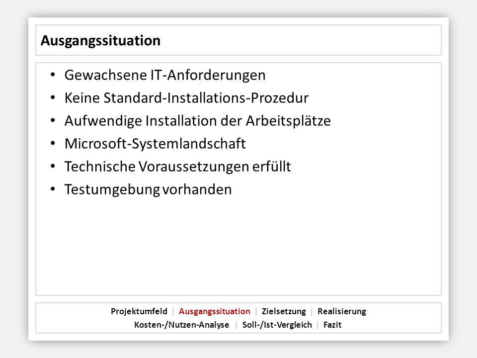 Ausgangssituation Gewachsene IT-Anforderungen Keine Standard-Installations-Prozedur Aufwendige Installation der Arbeitsplätze Microsoft-Systemlandscha